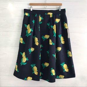 {Eva Mendes for NY & Co} Lemon print skirt sz 16